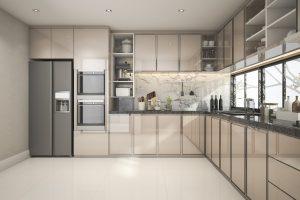Reformas de cocinas Albacete3d rendering beautiful modern kitchen with marble decor