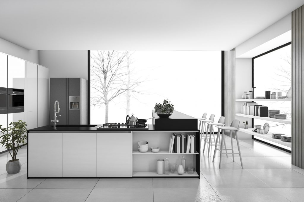 Reformas integrales Tenerife 3d rendering black and white modern kitchen and loft dining room